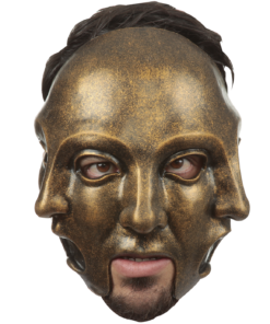 Brand New Creepy Three Faced Commedia Di Papiere Adult Mask